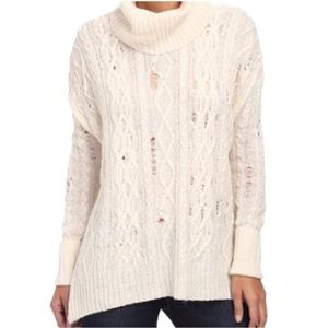 Free People Cream Distressed Complex Cable Sweater